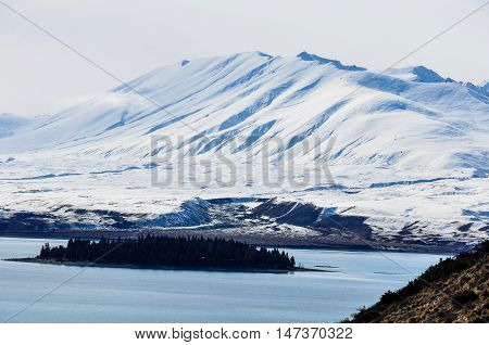 View Of Small Island In Lake Tekapo, New Zealand