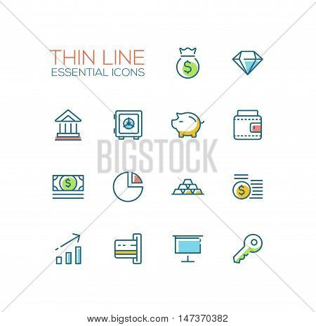 Business, finance symbols - set of modern vector thick line design icons and pictograms. Money bag, diamond, bank, vault, piggy bank, wallet, dollar bill, pie chart, credit card, presentation, key