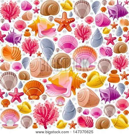 Seamless Sea travel icon set, underwater diving animal - seashell, scallop, mollusk shell and more marine shells icons. Vector illustration abstract templte . Elegant modern style, white background.