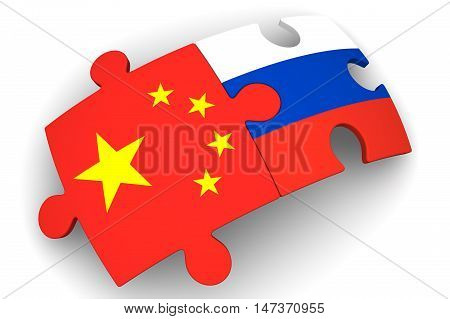 Cooperation of Russia and China. Puzzles with flags of the Russian Federation and China on a white surface. The concept of coincidence of interests in geopolitics. Isolated. 3D Illustration