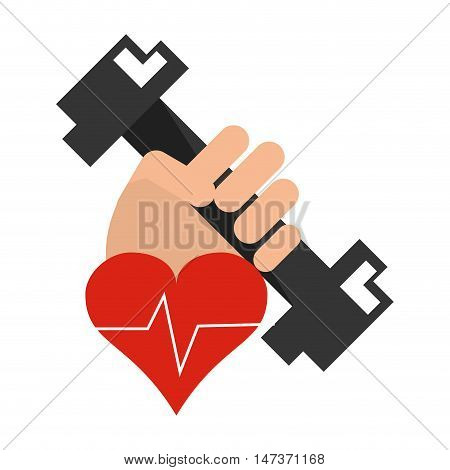 flat design hand holding  dumbbell and  heart cardiogram icon vector illustration