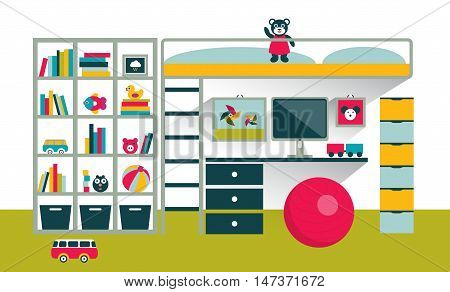 Kids room. Children furniture with bunk bed and table. Flat design vector illustration.