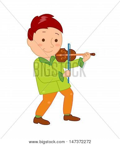 Cartoon musician kid. Vector illustration for children music. Boy isolated on white background. Cute school musical student clip art. Violinist with violin instrument