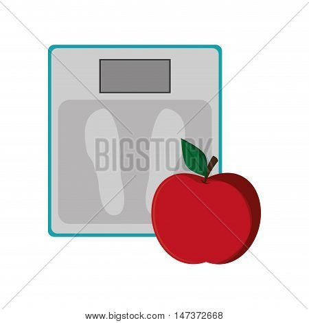flat design weight scale and apple  icon vector illustration