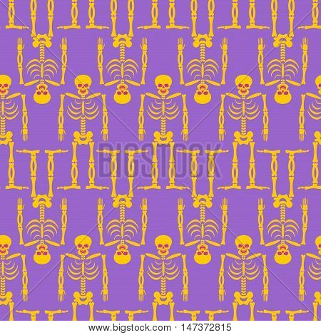 Skeleton Seamless Pattern. Bones And Skull Ornament. Ornament Of Dead. Happy Skeletons Texture. Hall