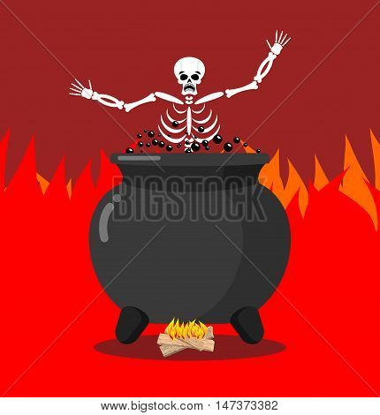 Sinners In Cauldron In Hell. Skeletons Are Cooked In Resin In Underworld. Dead Are Experiencing Hell
