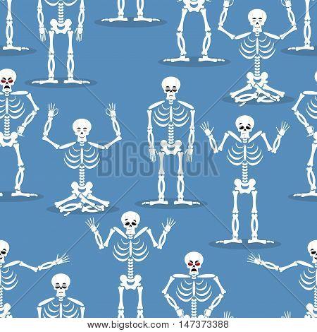 Skeleton Background. Bones And Skull Ornament. Ornament Of Dead. Happy Skeletons Texture. Halloween