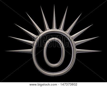 letter o with metal prickles on black background - 3d illustration