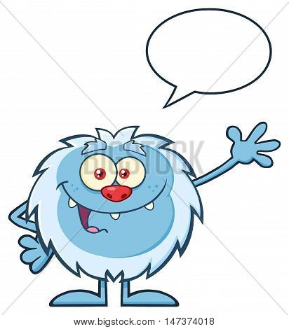 Cute Little Yeti Cartoon Mascot Character Waving For Greeting With Speech Bubble