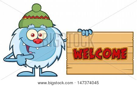 Cute Little Yeti Cartoon Mascot Character With Hat Pointing To A Welcome Wooden Sign