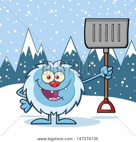 Happy Little Yeti Cartoon Mascot Character Holding Up A Winter Shovel. Illustration Over Snow Mountains Background
