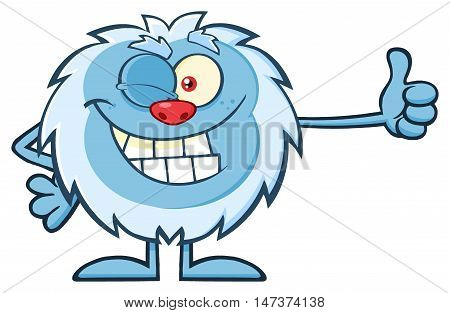Cute Little Yeti Cartoon Mascot Character Winking And Holding A Thumb Up. Illustration Isolated On White Background