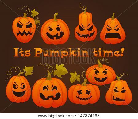Its pumpkin time. Set pumpkins with horror faces for Halloween.Cartoon flat style vector illustration