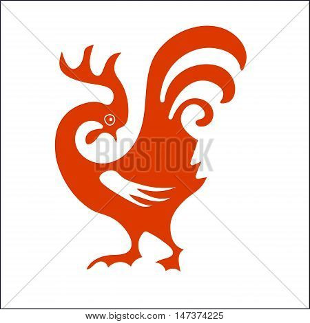 Image of the cock. Rooster. Chineese calendar symbol of  new year 2017