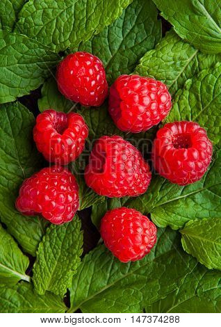 Raspberries on mint leaves clos up. Natural healthy food. Still life photography