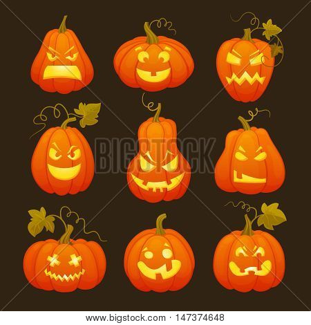 Pumpkins head with shining horror faces for Halloween.Cartoon flat style vector illustration