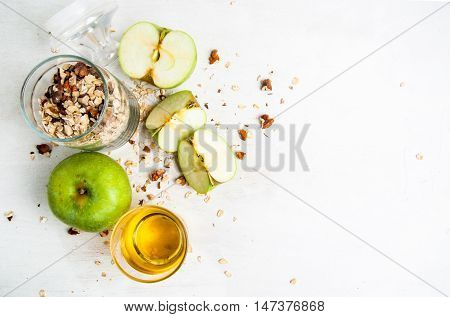 Selection of ingredients for cooking the traditional autumn apple crumble. top view, copy space