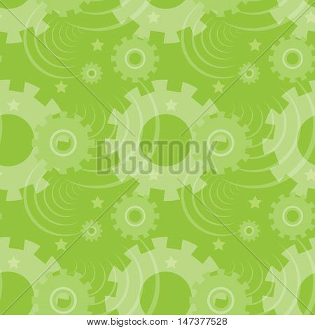 Vector ongoing pattern with green gears. Creative geometric background with wheels.