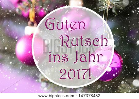 Christmas Tree With Rose Quartz Balls. Close Up Or Macro View. Christmas Card For Seasons Greetings. Snowflakes For Winter Atmosphere. German Text Guten Rutsch Ins Jahr 2017 Means New Year