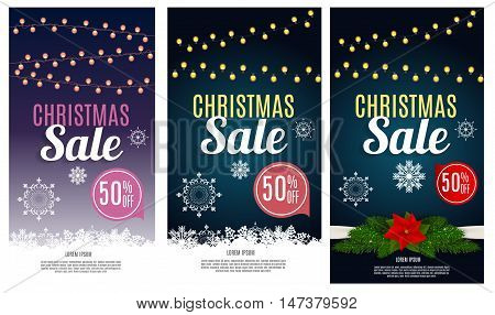Christmas Sale Banner Background. Business Discount Card. Vector Illustration EPS10