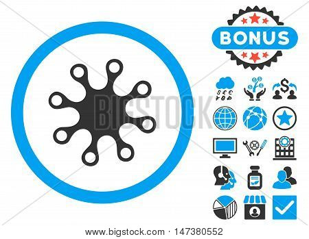 Axenic icon with bonus elements. Vector illustration style is flat iconic bicolor symbols, blue and gray colors, white background. poster