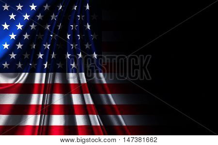 closeup of fabric texture American USA flag on black noir background united states of america with back space for text