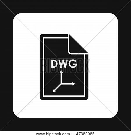File DWG icon in simple style isolated on white background. Document type symbol vector illustration
