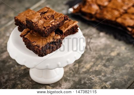homemade chocolate brownies on a dessert plate