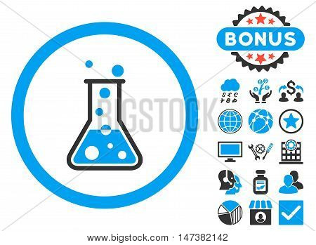 Boiling Liquid Flask icon with bonus symbols. Vector illustration style is flat iconic bicolor symbols, blue and gray colors, white background. poster
