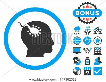 Brain Parasite icon with bonus pictogram. Vector illustration style is flat iconic bicolor symbols, blue and gray colors, white background.