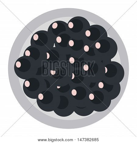 Black caviar in spoon seafood snack isolated on white background. Wealth expensive luxury raw black caviar gourmet appetizer. Fish luxury black caviar healthy salty meal delicacy seafood snack vector.