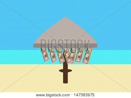 Beach Parasol and Money hanging from it