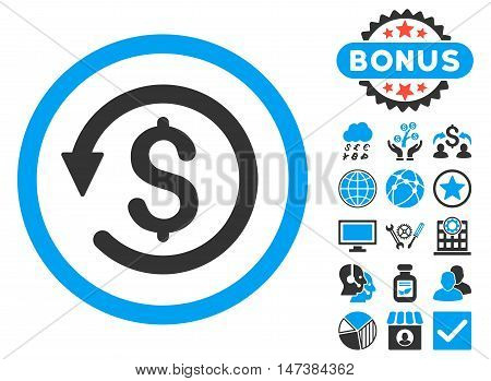 Chargeback icon with bonus pictogram. Vector illustration style is flat iconic bicolor symbols, blue and gray colors, white background.