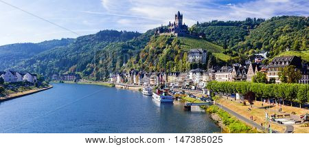Travel in Germany - pictorial Cochem town. romantic Rhein river