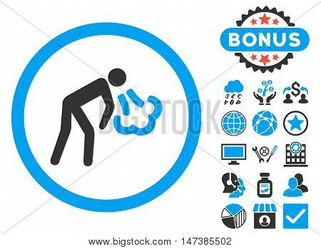 Cough icon with bonus elements. Vector illustration style is flat iconic bicolor symbols, blue and gray colors, white background.