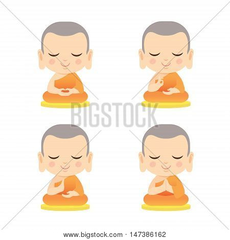 Set of cute monk with different hand gesture. Cartoon vector illustration isolated on white background.