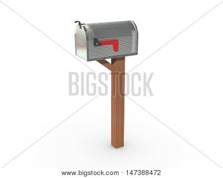 3D Rendering Of A Mailbox In Chrome Closed