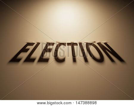 3D Rendering Of A Shadow Text That Reads Election