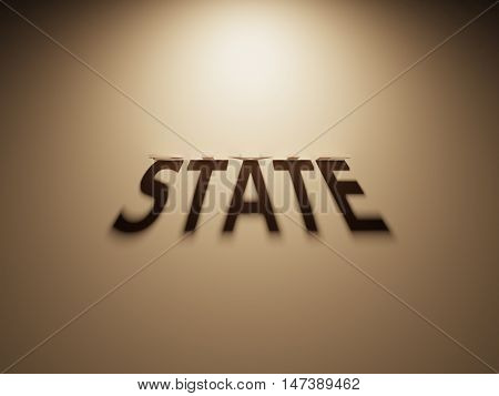 A 3D Rendering of the Shadow of an upside down text that reads State.