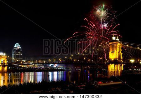 Fireworks along the Ohio River