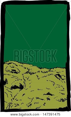 Sketch Of Mossy Hill With Green Background