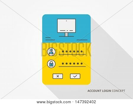 Login access webpage vector illustration. Sign up log in sign in interface technology creative concept. Registration submit form frame box graphic design.