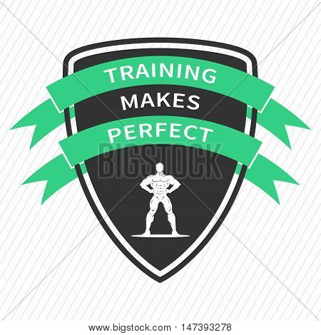 Training makes perfect. Inspirational motivational quote on white background. Positive sport affirmation for print poster banner decorative card. Vector typography concept design illustration.