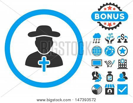 Clergy icon with bonus elements. Glyph illustration style is flat iconic bicolor symbols, blue and gray colors, white background.