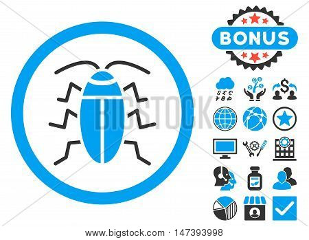 Cockroach icon with bonus images. Glyph illustration style is flat iconic bicolor symbols, blue and gray colors, white background. poster