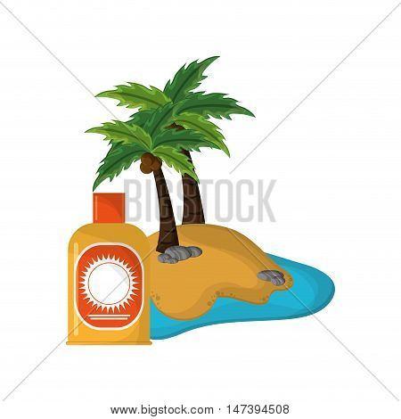 flat design tropical island and sun block icon vector illustration