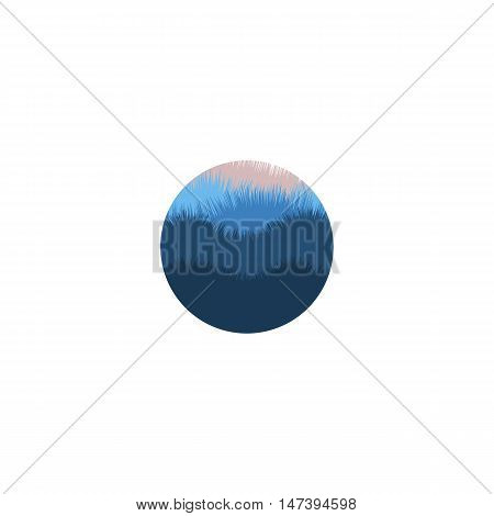 Isolated abstract blue color round shape mountains with trees logo. Natural environment silhouette logotype. Misty landscape icon. Wild nature panorama. Twilight vector illustration