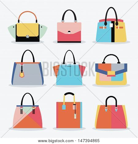 Retro colorful and trendy women isolated handbags and purse set on white background