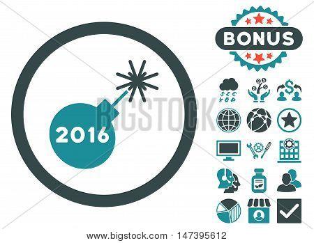 2016 Petard icon with bonus elements. Vector illustration style is flat iconic bicolor symbols, soft blue colors, white background.