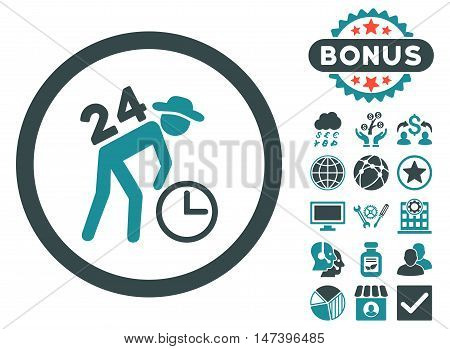 Around the Clock Work icon with bonus pictogram. Vector illustration style is flat iconic bicolor symbols, soft blue colors, white background.